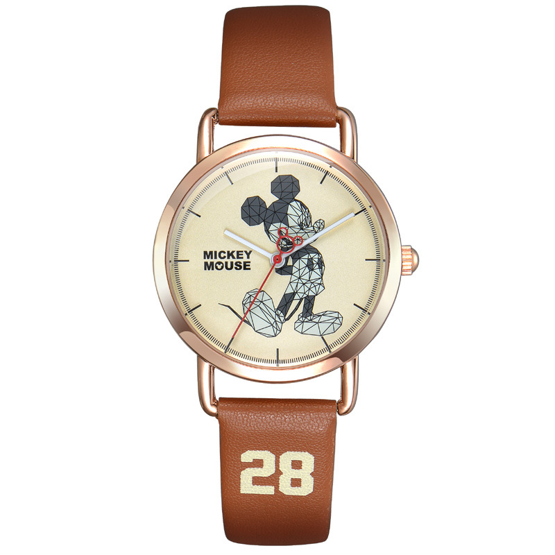 Enfants garçons filles montres-bracelets quartz en cuir véritable dessin animé Disney Mickey marque enfant montres étanche étudiants horloges