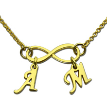 Gold Color Infinity Necklace with Initial Charms Personalized Infinity Necklace Mothers Grandma Family Necklace Infinity Jewelry