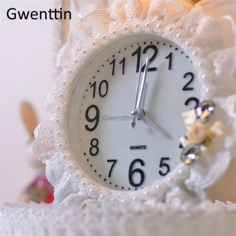 relógio tecido rendas suporte mesa luminárias para