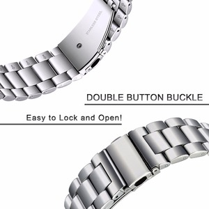 Image 4 - Premium Stainless Steel Watchband for Samsung Galaxy Watch 46mm SM R800 Sports Band Curved End Strap Wrist Bracelet Silver Black