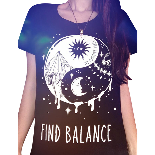 Summer Black T-Shirt For Women Sun And Moon Find Balance Letters Graphic  Tees Short Sleeve Casual Comfy Cotton T-Shirt cecaf1bee