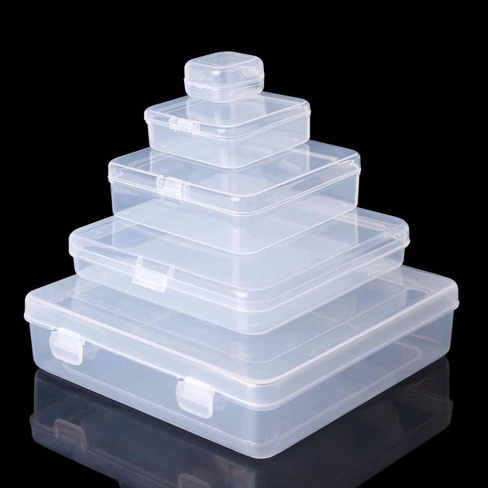 Square Transparent Plastic Jewelry Storage Boxes Beads Crafts Case Containers