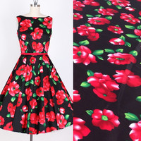 BZ67 100*127cm Black Back Red Flowers Printed Cotton Twill Poplin Fabric Handmade DIY Fabric For Sewing Girls Women Dress Fabric