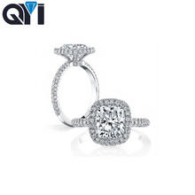 QYI Bridal Jewelry 925 Sterling Silver For Women Ring 3 ct Cushion Cut Simulated Diamond Engagement Rings Wedding Promise