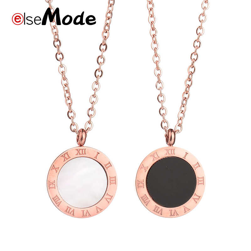 ELSEMODE Fashion Luxury Gold Roman Numerals Long Necklace Pendant for Women Girl High Polish 316 L Stainless Steel Jewelry