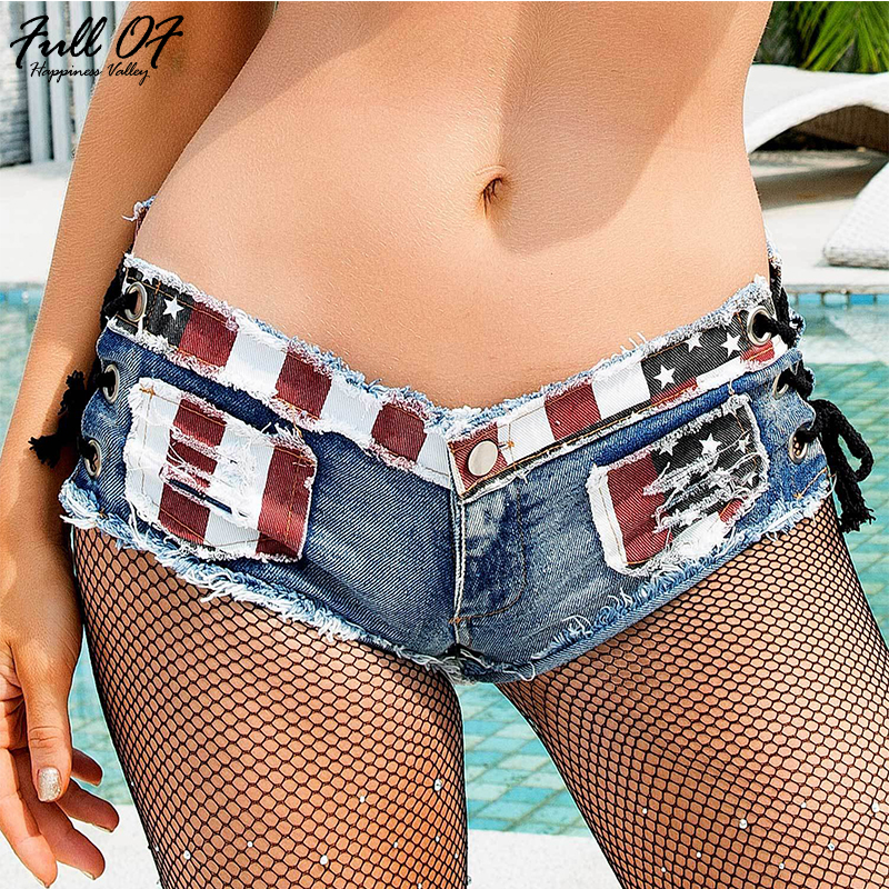 Fashion short jeans woman befree Sexy US flag print Vintage Low waist Lace Up Women jeans Hole Night club ladies shorts Hot New in Jeans from Women 39 s Clothing