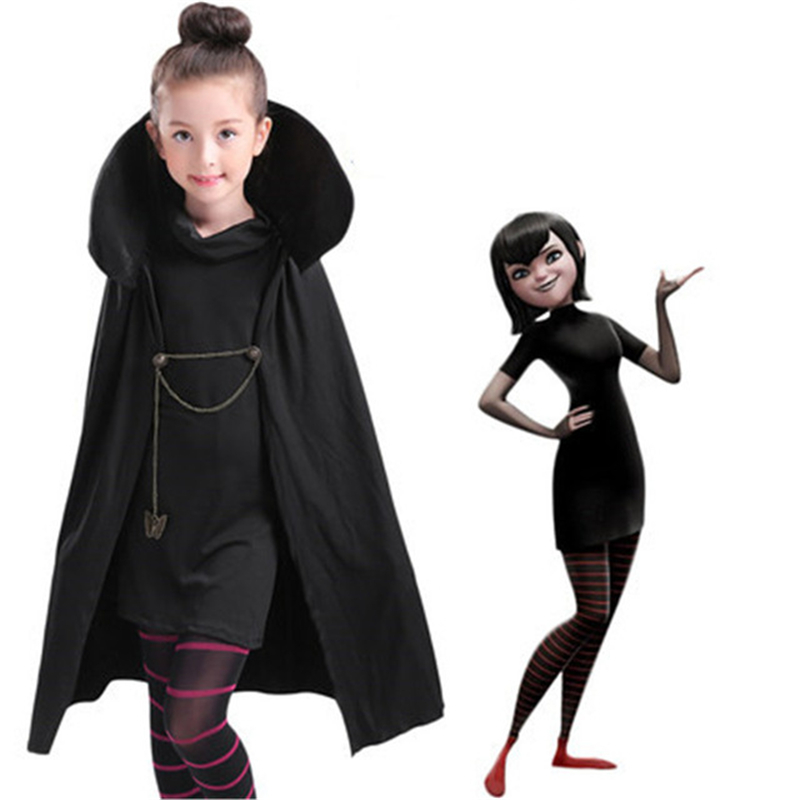 Hotel Transylvania Mavis Cosplay Costume Fancy Girls Black Cape Coat With T-shirt pants Halloween kids Costume high quality