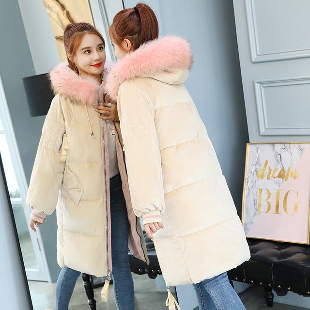 87b1f47b330 2018 Velvet Long Thick Warm Parka Women Winter Coat Down Cotton Padded Pink  Fluffy Jacket Plus Size Fur Collar Female Outwear