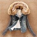 Новая весна одежды хан издание тяжелой волос вата джинсовая куртка ковбой полупальто LJA122