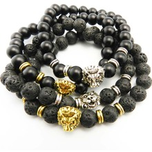New Men's Black Matte Natural Stone & Golden Lion Head Bracelet 8mm Beads