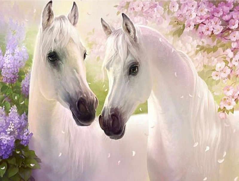 שני לבן סוסי דפוסי Rhinestones 5d Diy יהלומי רקמת פאייטים סט קריסטל יהלומי ציור 3D מלא תרגיל בית חדש מכירה