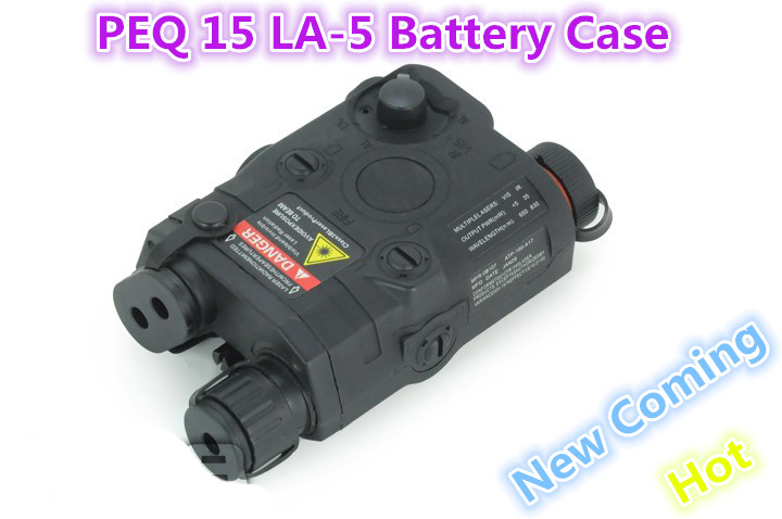 Free Tactical PEQ 15 LA-5 Battery Case + red laser BLACK Color For Sniper Pistol Air Soft Weapon Guns