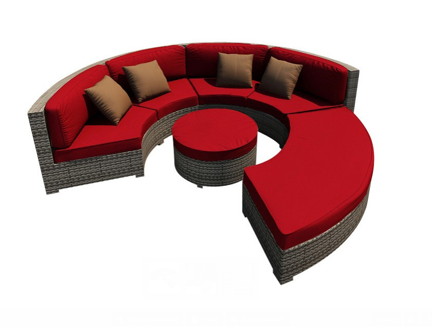 all weather 4 piece modern patio sectional round rattan sofa set