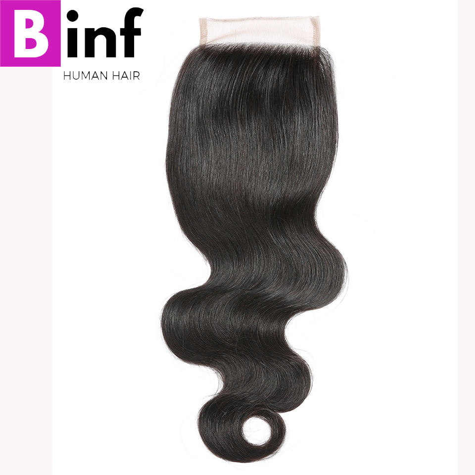 BINF Hair Free Part Lace Closure Peruvian Body Wave Remy Hair Closure Swiss Lace 130% Density Human Hair 8-20 Natural Colour