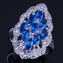 Candy Oval Blue Cubic Zirconia White CZ 925 Sterling Silver Ring For Women V0591 8mm blue cubic zirconia cz black