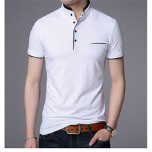 Mandarin Collar Short Sleeve Tee Shirt Men 2019 Spring Summer New Tee Tops Men Brand Clothing Slim Fit Cotton T-Shirts Poloshirt