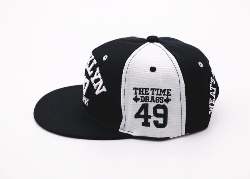 Negro y blanco Brooklyn NY ajustable Casual gorra de béisbol hombres ... 967df3f6dad