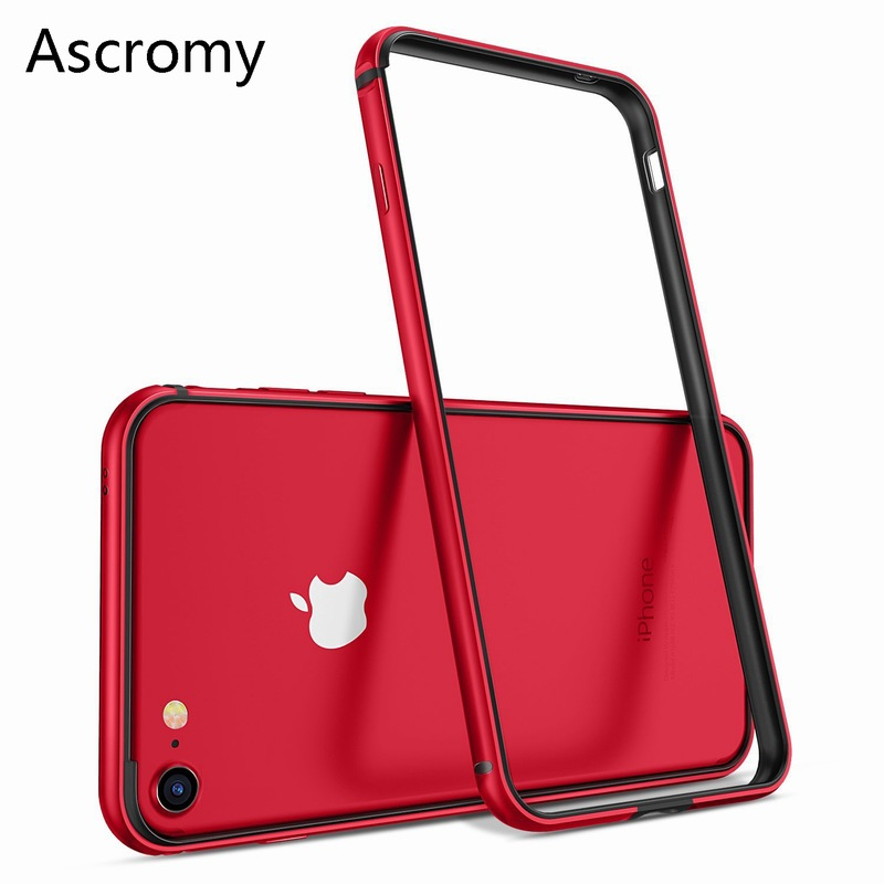 Ascromy For Iphone eight Case Aluminum Tpu Silicone Hybrid Shockproof Bumper Case For Iphone 7 Plus eight 8Plus 7Plus Metallic Body Bumper