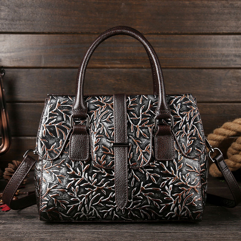 High Quality Women Bag Embossed Genuine Leather Cross Body Tote Handle Bag Shoulder Bags trend brand Messenger Handbags bullcaptain high quality genuine leather vintage women messenger shoulder bag ladies floral cross body bags brand mini tote