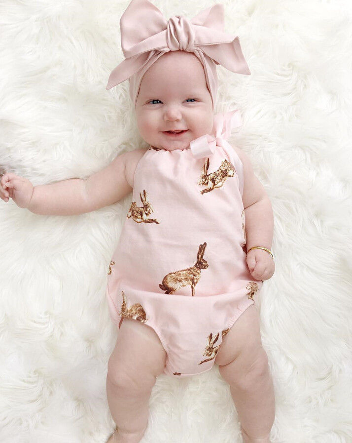 0987ff0abe2a summer photo 2pcs 0 18M infant toddler pink princess kid children deer Newborn  Baby Girls Clothes Bodysuit Outfits Set +Headband-in Bodysuits from Mother  ...