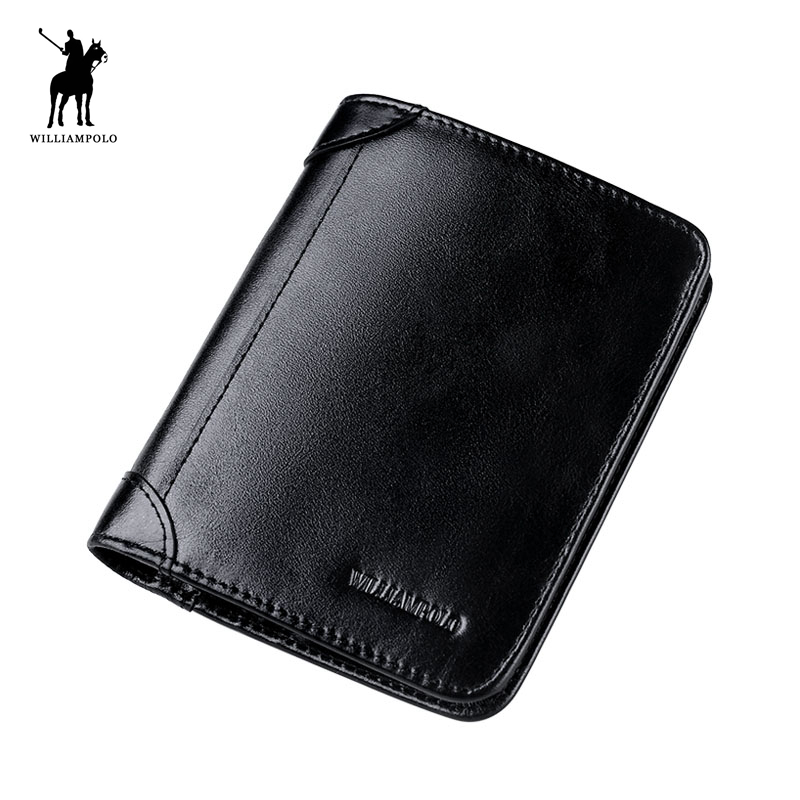 цена на WILLIAMPOLO 2017 Fashion Leather 6 Card Holder SIM Card Holder Folder Short Travel Wallet POLO198