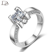 6.6mm Square AAA Cubic Zircon Wedding Rings Luxurious Engagement Jewelry Accessories Crystal Bijoux Femme Wholesale DM037