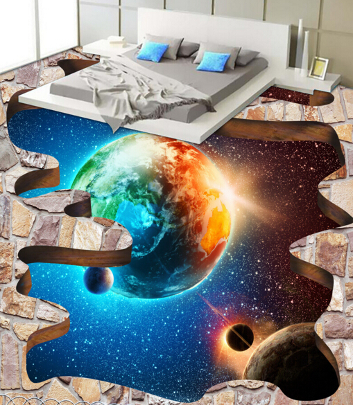 [Self-Adhesive] 3D Sun Earth Space 2 Non-slip Waterproof Photo Self-Adhesive Floor Mural Sticker WallPaper Murals Print Decal