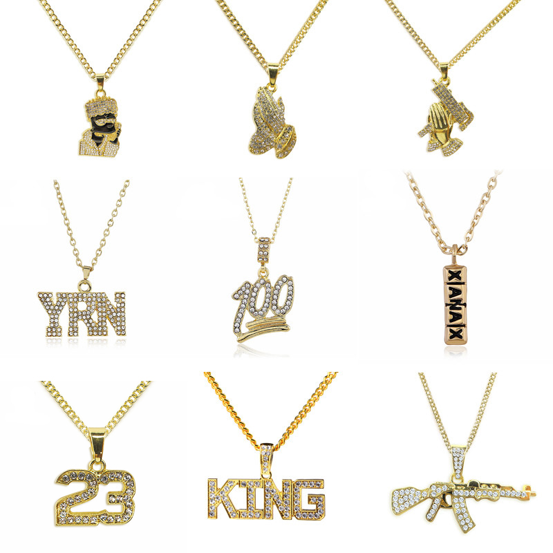 ... Hiphop Pendant Long Chains Product Information Colors  Gold Type  9  Types Material  Alloy Chain Length  70cm+5cm. Suit for   Men Boy Dad Students Neutral 2d4344aa1780