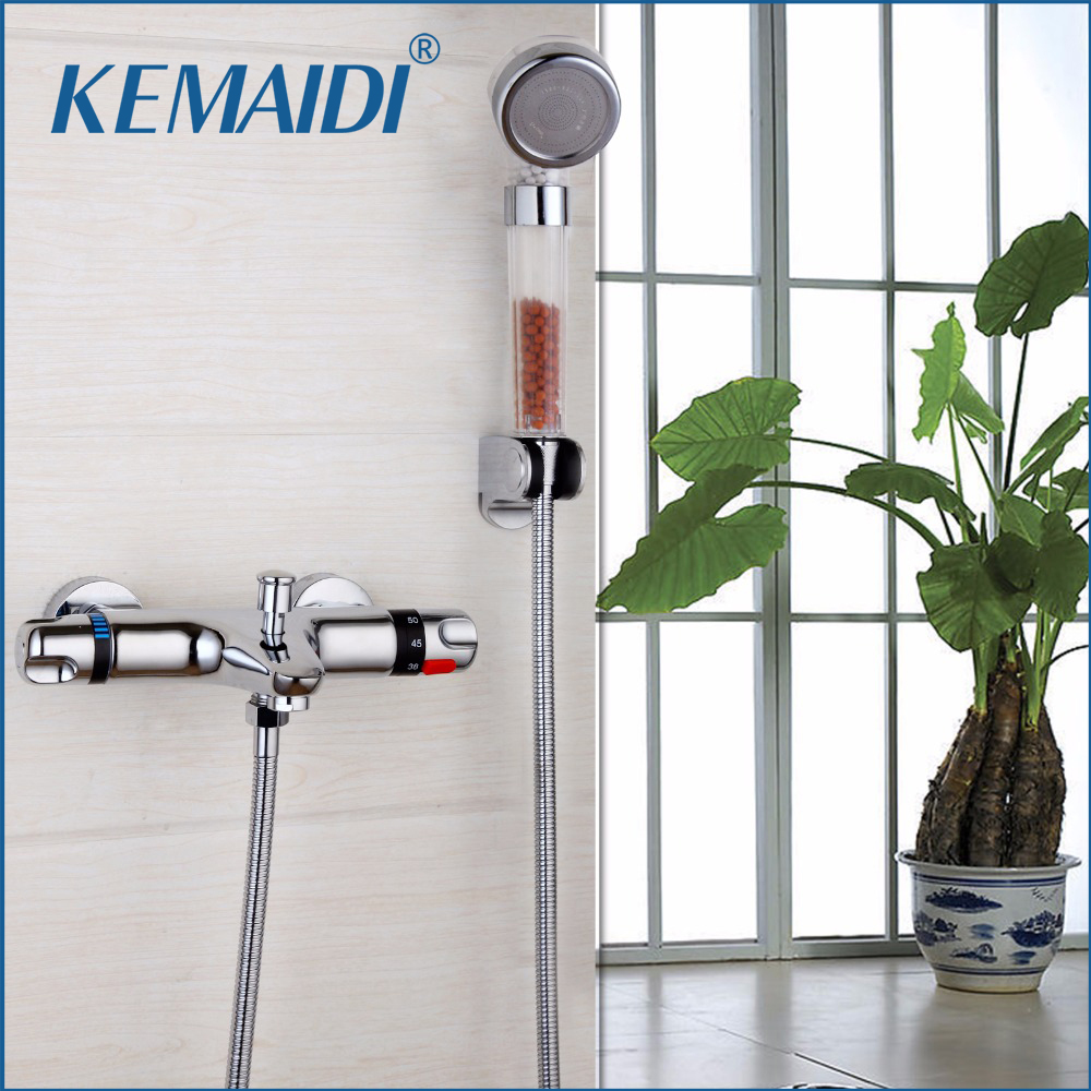 KEMAIDI Thermostaic Shower Mixing Valve Constant Temperature Taps Bathroom Faucets Bathtub And Shower Thermostatic Faucet fashion high quality brass chrome thermostatic bathroom shower faucet constant temperature faucet mix water valve full copper
