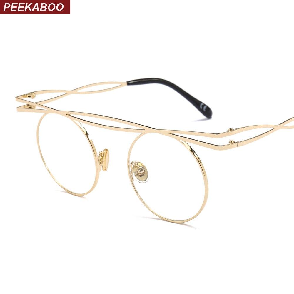 de0bbc1f8a0a Peekaboo steampunk round glasses frame men retro 2019 flat top circle  eyeglasses frame for women gold