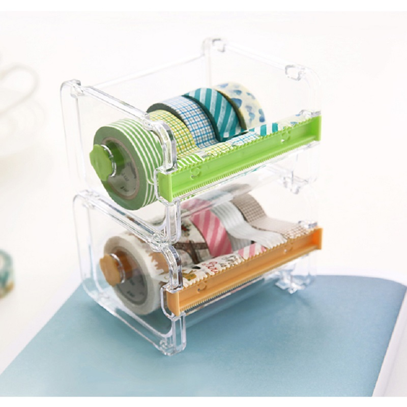 Masking Tape Dispenser Washi Tape Storage Box Cutter Holder For Kids Stationery Plastic Tape Desk Organizer School Office Supply