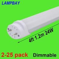 2 25pcs LED Tube Bulb 4ft 48 120cm Dimmable Lamp 20W 24W T8 G13 Bi Pin Retrofit Fluorescent Light Bar Lighting 110V 220V 277V
