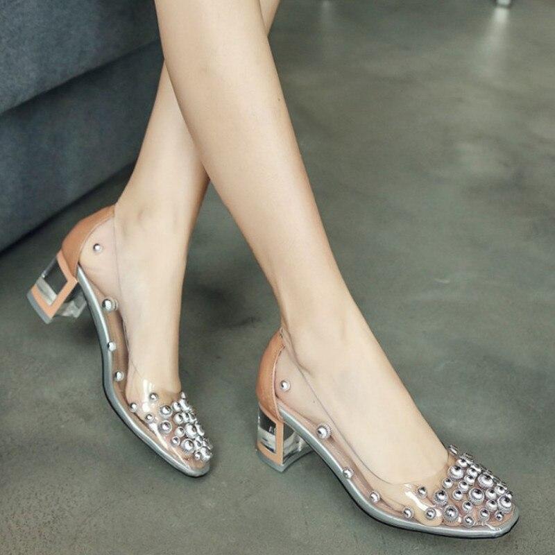 2019 neue Kommen High Heels Frauen Schuhe Sommer Transparent Schuhe Niet Mode Karree Pumpt Komfortable Hohe Quanlity-in Damenpumps aus Schuhe bei  Gruppe 1
