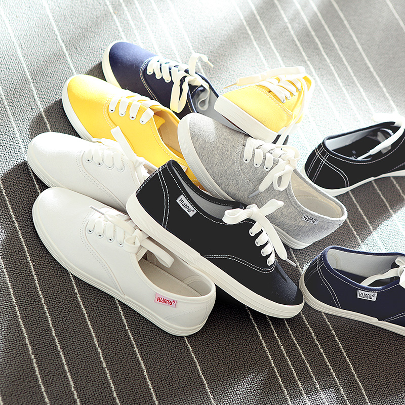 HUANQIU White Women Vulcanize Canvas Shoes Low Breathable Female Solid Color Flat Shoes Casual Candy Colors Leisure Cloth Shoes e lov women casual walking shoes graffiti aries horoscope canvas shoe low top flat oxford shoes for couples lovers