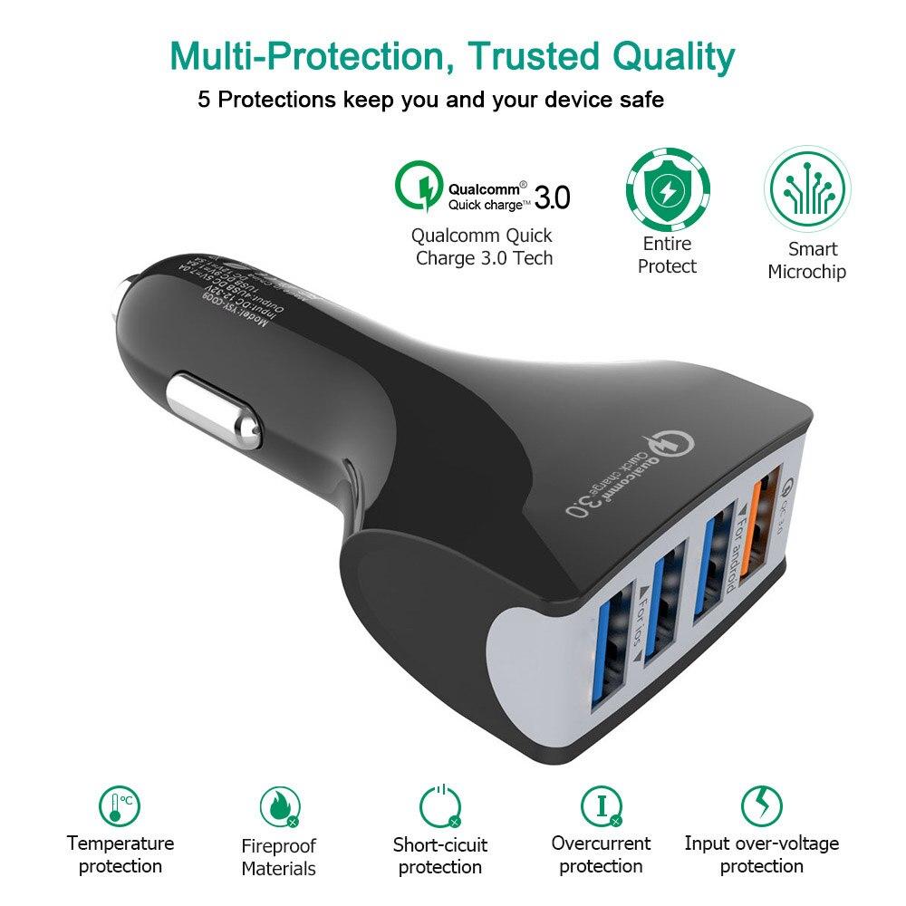 Chargeur de voiture 4 usb prise de charge pour le téléphone ayfon adaptateur rapide charge 3.0 QC rapide dans la voiture allume-cigare iphone X 8 8 s