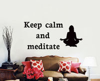 Quote Keep Calm And Meditate Wall Decal Yoga Lotus Pose Meditate Art Mural Vinyl Home Wall