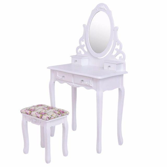 Online Shop Giantex White Vanity Wood Makeup Dressing Table Stool Set With  Mirroru00264Drawersu0026Rose Cushion Bedroom Modern Dresser Table HW55562 |  Aliexpress ...