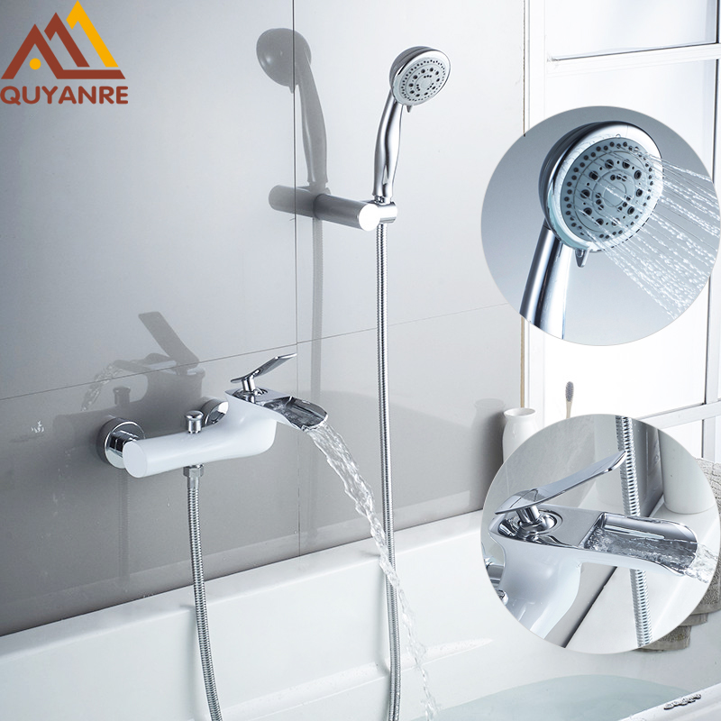 Quyanre White Chrome Waterfall Bathtub Shower Faucets Torneira Bathroom Shower Single Handle Mixer Tap Wall Mounted Shower Mixer