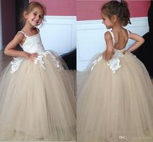 Flower Girl Dresses 2016 Spaghetti Lace Appliques Ball Gowns Girls Pageant Dress For Little Girl Tulle Cute Communion Dress FD66