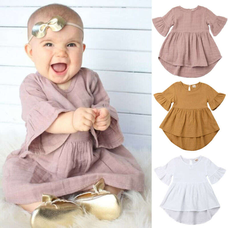 Toddler Girls <font><b>Dress</b></font> Fashion Clothes Ruffle Solid Party <font><b>Cocktail</b></font> Tutu <font><b>Dress</b></font> <font><b>Kids</b></font> Clothing Infant Mandarin Sleeve Outfits Set image