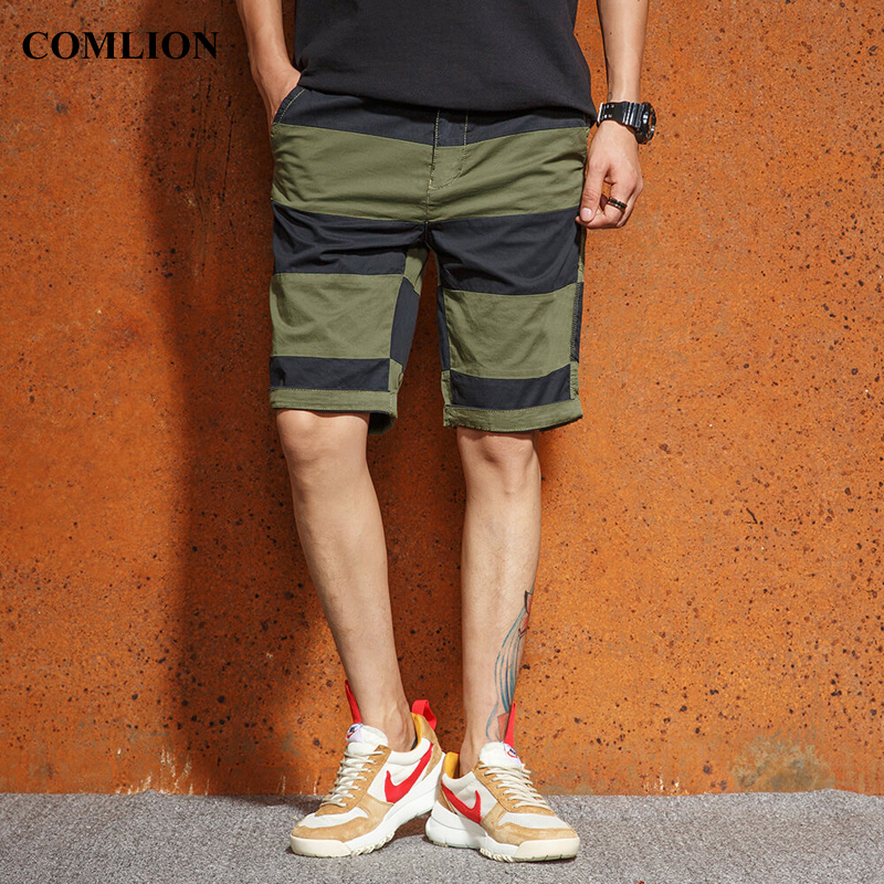 2018 New Men's Casual Shorts Hot Sale Summer Men Fashion Stripe Squad Match Calf-Length Wear High Quality Bermuda Trousers F26