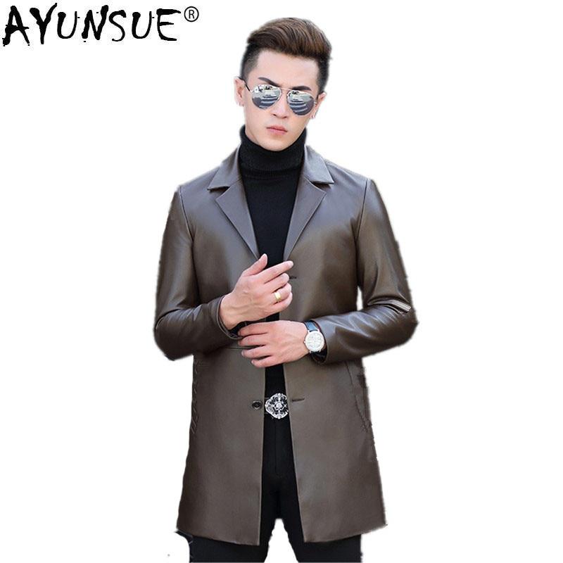 AYUNSUE Mens Genuine Leather Jacket Autumn Winter Jacket Men Windbreaker Coat Men Sheepskin Leather Jackets T-01-1703 MY769