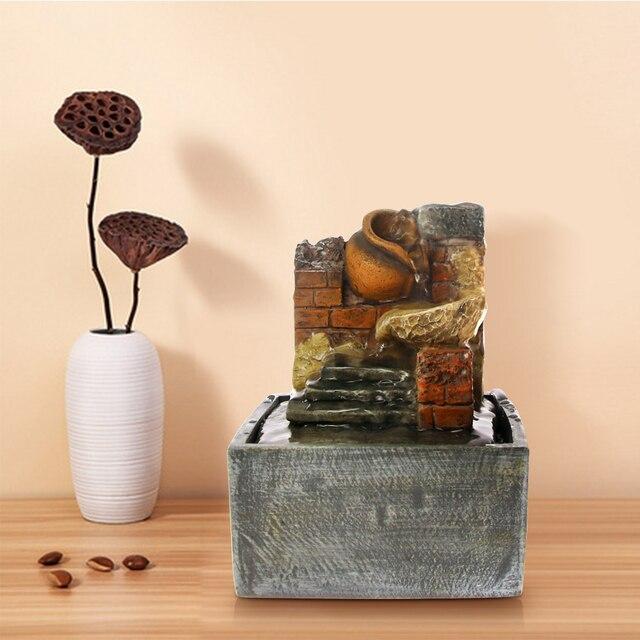 Desktop Water Fountain Pastorale Indoor Meditation Interior Broken Pot With  Statacked Red Brick Relaxing Air Freshener