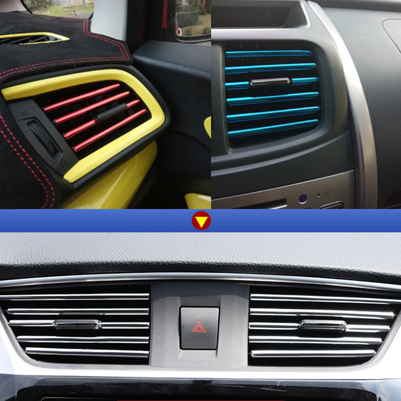 Image 5 - Stickers Car Interior Accessories Auto Internal Decoration Strips Universal Air Outlet Vent Decorative Mouldings Chrome Styling-in Car Stickers from Automobiles & Motorcycles