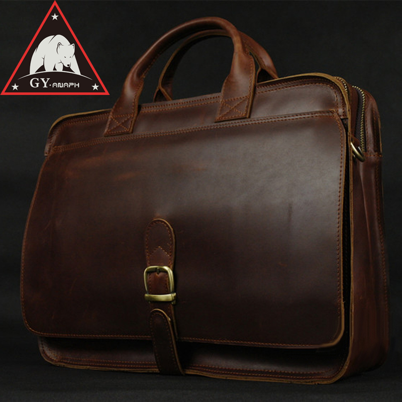 ANAPH Office Work Bag For Lawyers, Men's Leather executive Briefcases, Tote Bags Fit 15 Inch Laptop Vintage Top Quality Coffee anaph 15 inch laptop briefcase men office work bags brown real cow leather top quality tote bag man double zippers open