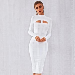 Image 2 - الشتاء الخريف النساء أنيقة المشاهير حفلة Bodycon ضمادة فستان أبيض طويل الأكمام س الرقبة الجوف خارج مثير ملهى ليلي Vestidos
