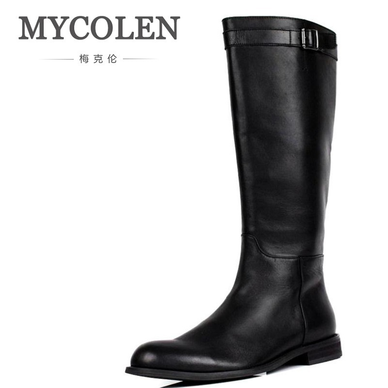 MYCOLEN Men Motorcycle Boots Vintage High Top Combat Boot 2018 New Genuine Leather Buckle Martin Boots Men Shoes Chuteira