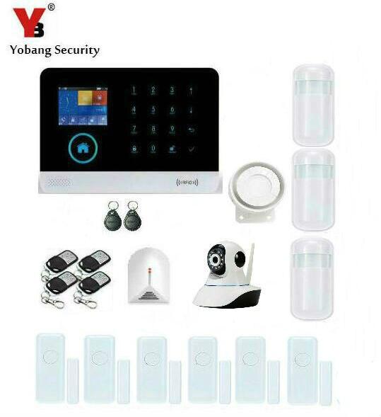Yobang Sécurité WIFI GSM RFID Sans Fil D'alarme de Sécurité Intelligent APP Contrôle Caméra Réseau SMS Système D'alarme Avec Capteur de Bris De Verre