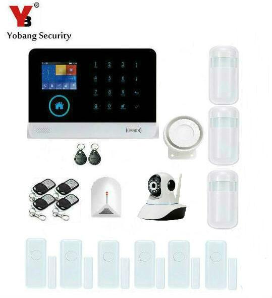 Yobang Security WIFI GSM RFID Wireless Security Alarm Smart APP Control Network Camera SMS Alarm System With Glass Break Sensor