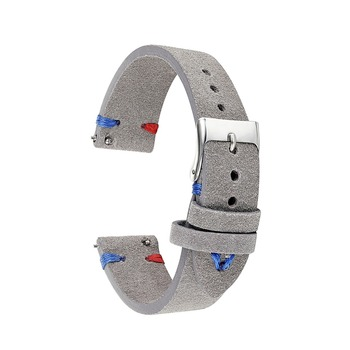 New Handmade Leather Gray Suede Watch Strap 18mm 20mm 22mm Stainless Steel Buckle High Quality Genuine Leather Watch Band KZSD05 handmade leather comfort gray suede strap 18mm 20mm 22mm stainless steel buckle high quality red blue line 2018 new